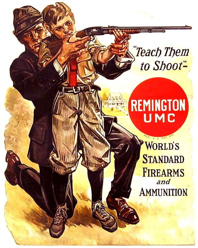 Ad for the Remington Model 12 Pump Action Rifle from 1909. Big Green has always played up the family angle.