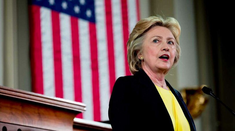 Likely Democratic presidential nominee Hillary Clinton speaks about racial unity, income inequality, gun violence prevention and blasts her rival, Donald Trump, from the podium of the Old State House in Springfield, Illinois, on Wednesday, July 13, 2016. (Photo: Associated Press)