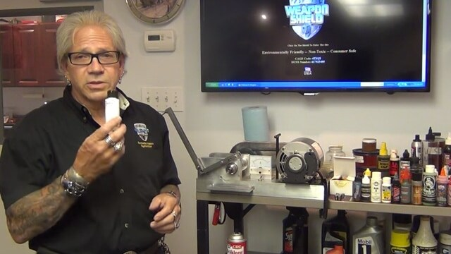 """George Fennell, owner of the brand Weapon Shield, saying FireClean is the equivalent to """"Wesson oil"""" in a video published June 10, 2015. (Photo: Weaponshield/YouTube)"""