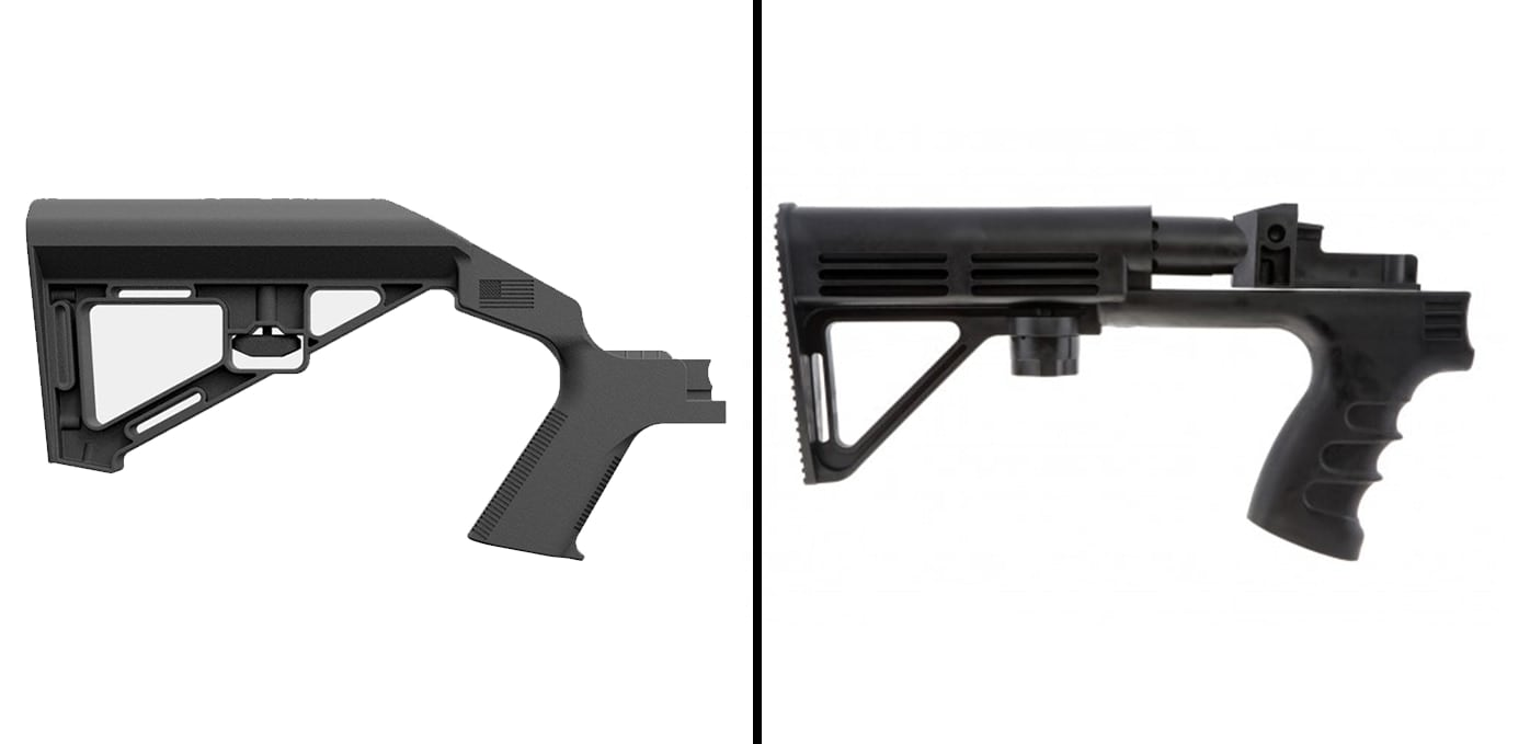 The Bump Fire design, pictured on the right, was remarkably similar to the Slide Fire, on the left. (Photos by: Slide Fire and Bump Fire)