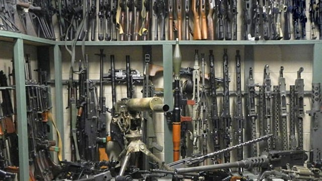 "A room full of machine guns called the ""weapons vault"" at Battlefield Vegas. (Photo: Battlefield Vegas)"