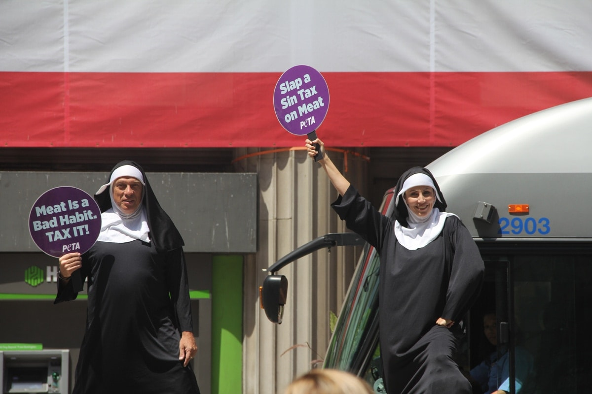 Meat is murder. I know because these giant nuns told me so.