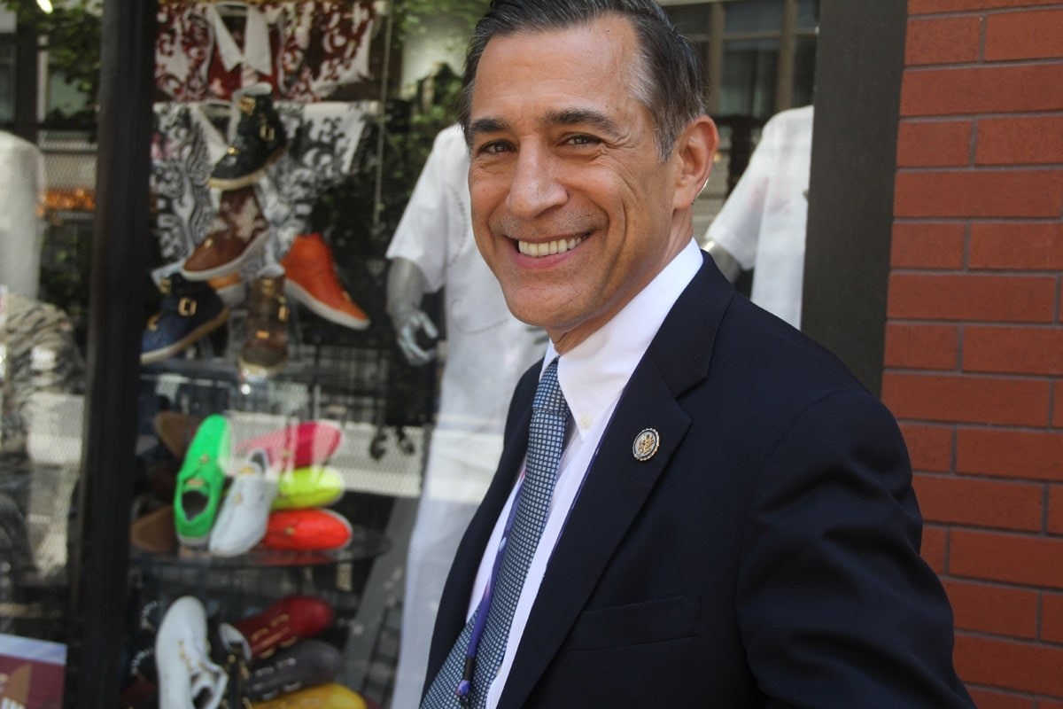 Congressman Darrell Issa, a Republican from California, was wondering around outside the convention. Right after this photograph, someone almost walked into him.
