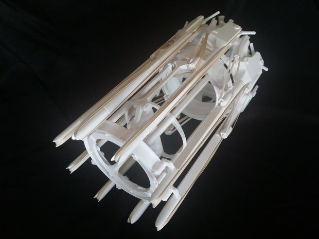 The Arcus: a 3D-printed, rubber band firing, gatling gun. (Photo: Matthew Davis)