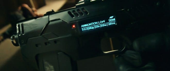 A fictionalized version of a smart gun. In the film Dredd, the character's smart gun reads DNA and offers select-fire options. (Photo: Dredd)