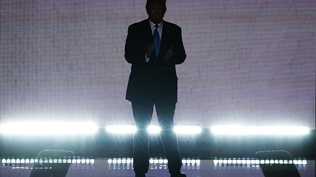 The Republican nominee, Donald Trump, teasing his appearance at the Republican National Convention in Cleveland on July 18, 2016.