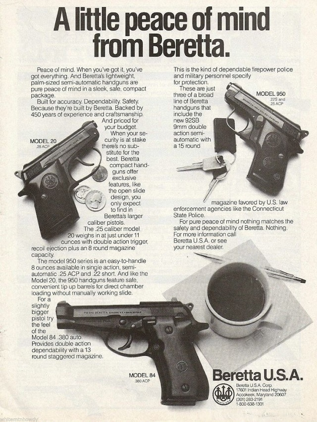 Even jumping into the 1980s...look at this Beretta splay