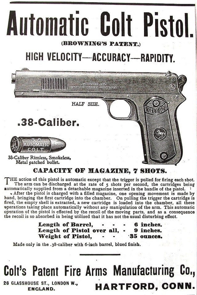 "And even overseas sales, as shown in the British ad from the 1900s showing off the Colt's ""Rapididity"" good luck buying a semi-auto handgun in England today"