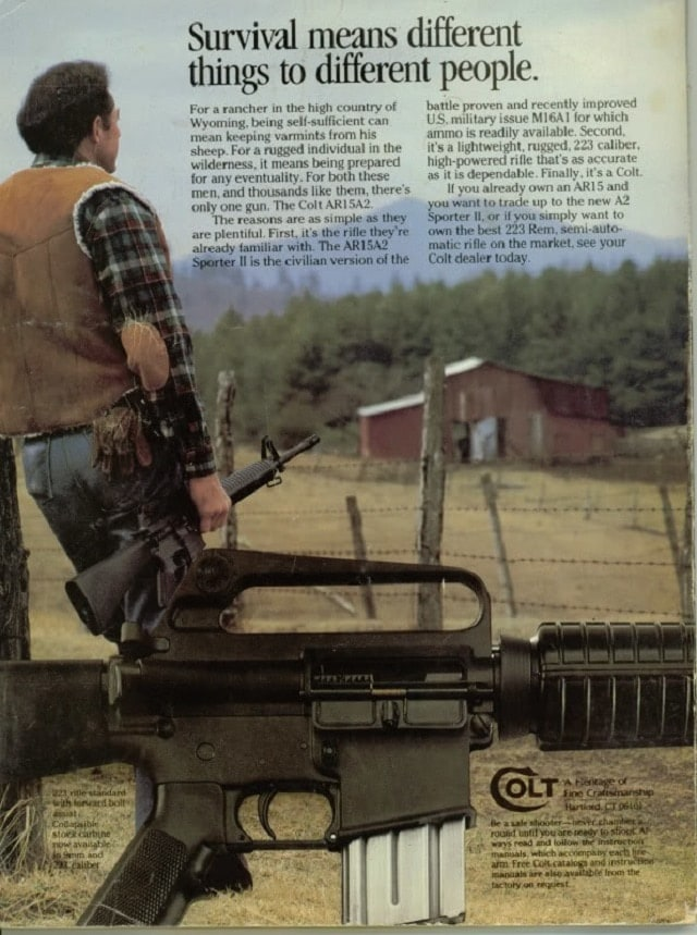Also, see this AR-15A2 ad from 1984, when it was competing with the Ruger Ranch Rifle