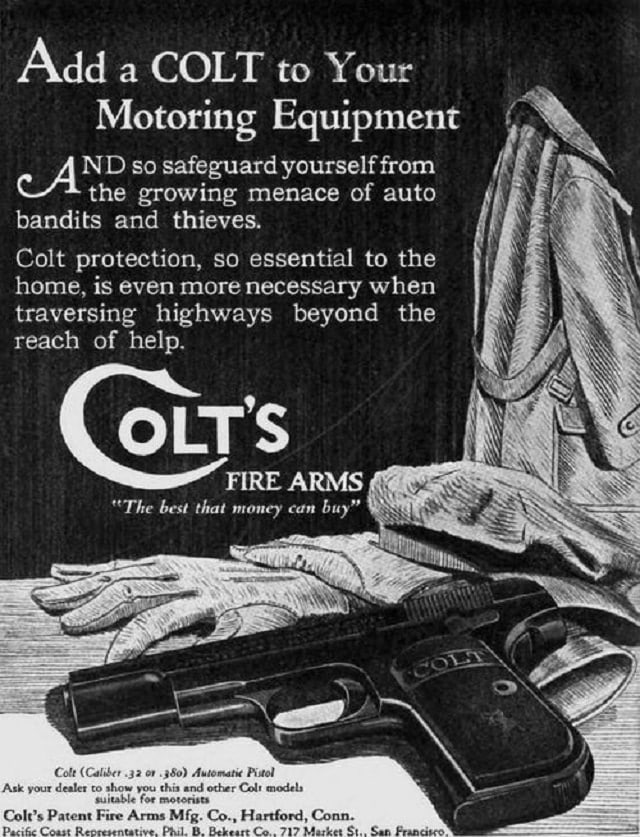 But the company sold guns aimed at the new automobile market in the 1900s as well, preventing early carjackings for the EDC gent of the Jazz era