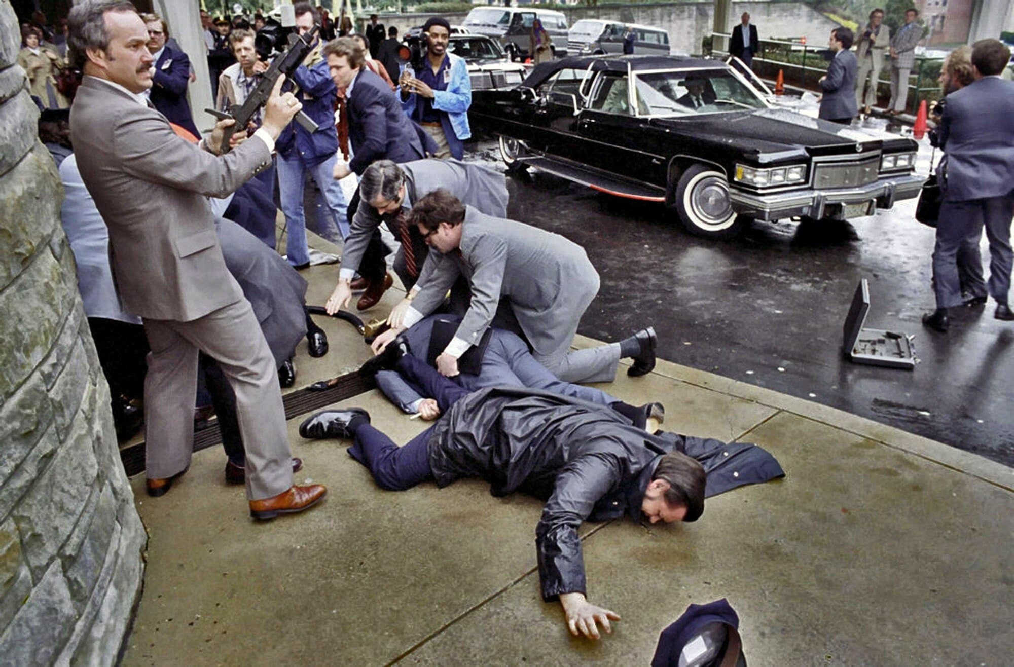 The scene after a failed assassination attempt on Ronald Reagan unfolded outside the Washington Hilton Hotel on March 30, 1981. (Photo: Ronald Reagan Library)