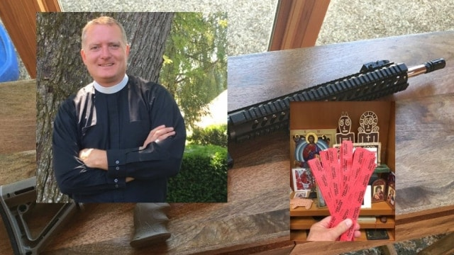 Rev. Jeremy Lucas of Christ Church Episcopal Parish in Lake Oswego, Oregon has come under fire in recent weeks over an AR-15 he won in a raffle, and then gave to a parishioner to hold while he arranged its destruction. (Photo: Composite)