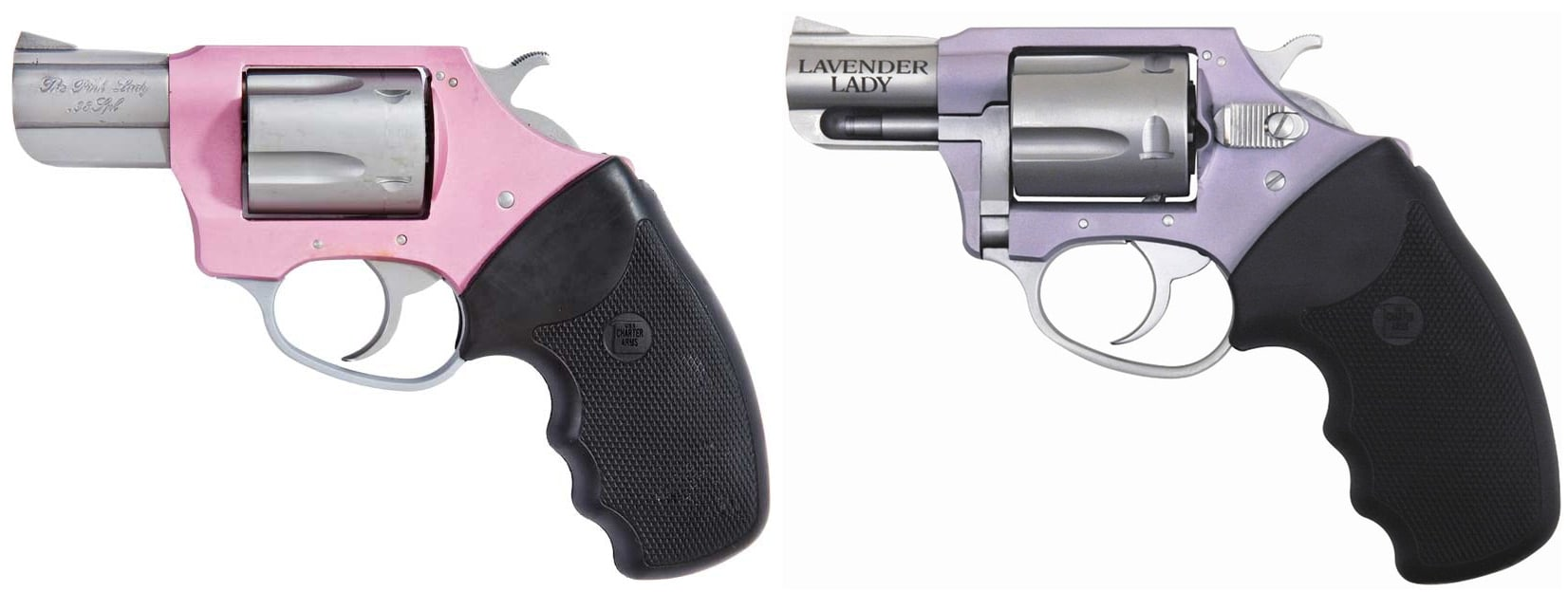 Charter Arms revolvers: The Pink lady, left, and The Lavender Lady. (Photo: Charter Arms)