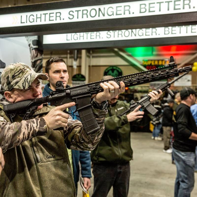 Customers check out Daniel Defense rifles at the Great American Outdoor Show. (Photo: Daniel Defense via Facebook.)