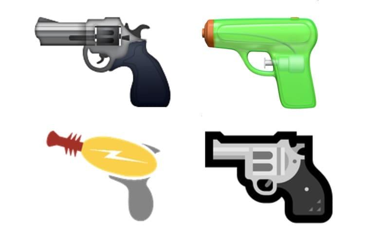 Apple Microsoft gun emojis