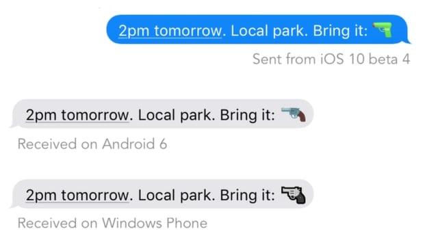 emojipedia gun apple microsoft