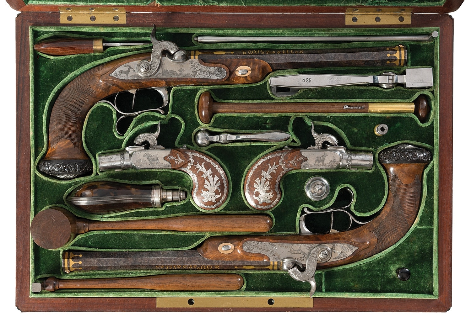 Exhibition Quality Gold Inlaid and Engraved Cased Four Gun Garniture by Renowned Maker Nicolas Noel Boutet
