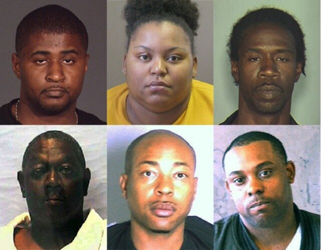 """Rodney Brewer, top right, is the last defendant sentenced as part of the six-person """"Gun Family"""" who brought guns from Georgia to Brooklyn via I95. Michael Quick, top left, ran the ring. (Photo: Brooklyn DA's office)"""