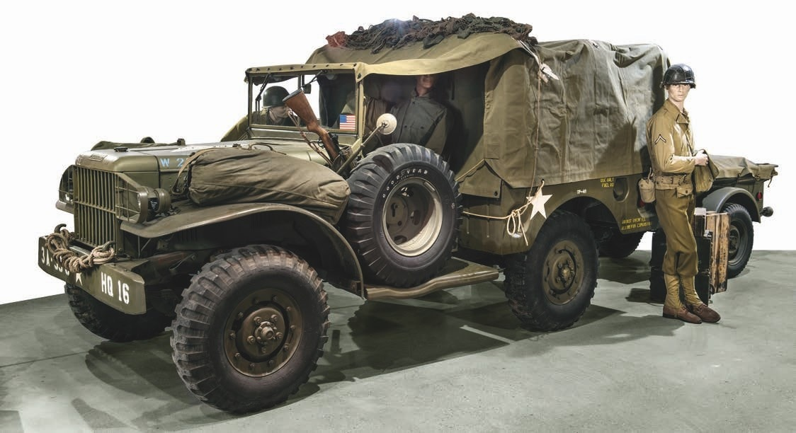 Among the 40 vehicles, many running, are everything from British to American and German armored cars, tanks, trucks, and motorcycles. This is a 1942 Dodge WC51