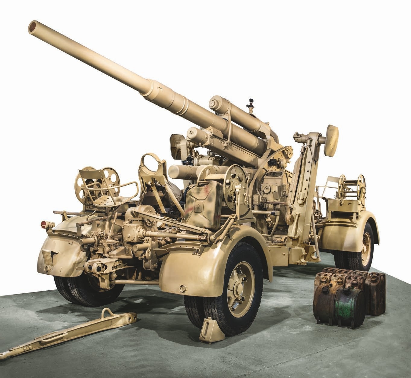 This Flak 88 was actually captured by U.S. troops in France and was positioned in defense of a German Command Center located in an occupied chateau near Cherbourg. The museum rescued it from a scrap yard in 2014 and restored it.