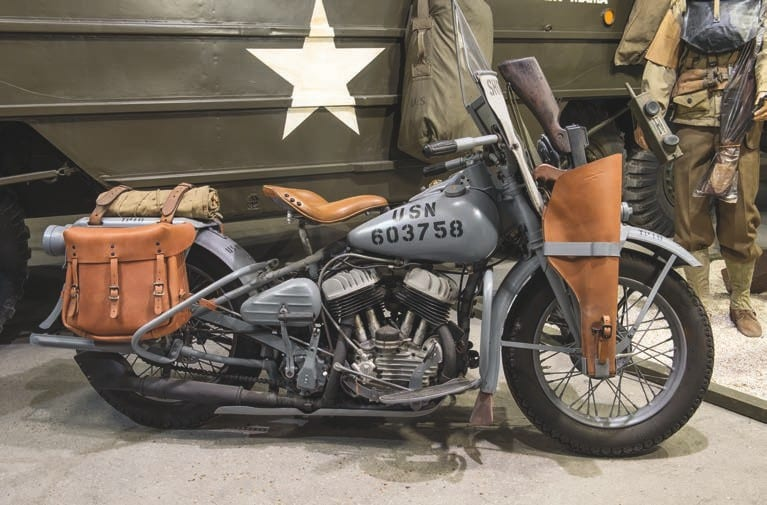 Yup, that's a 1943 Harley-Davidson WLA in Shore Patrol livery, complete with bucket for Tommy gun.