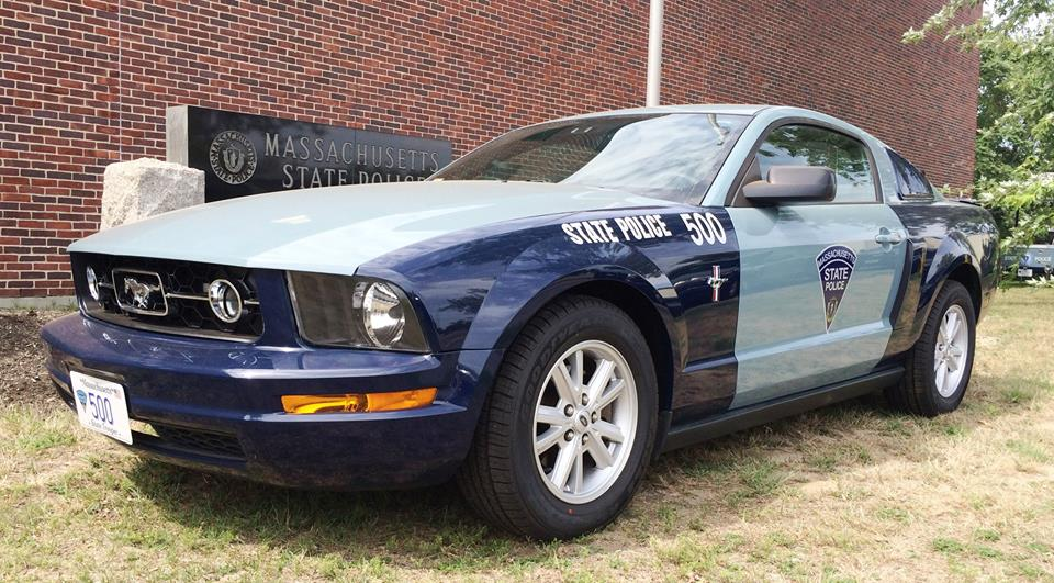 """Best known as the guys who urge you to """"use ya blinkah"""" or get a ticket, among other things, the MSP now has a new marked 'Stang. (Photos: Massachusetts State Police)"""
