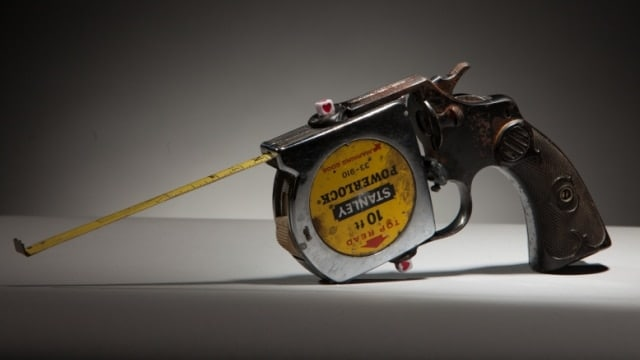 """""""Taperuler Gun"""" by Luis Cruz Azaceta, part of the Guns in the Hands of Artists progam which will be collecting unwanted firearms in Minneapolis this weekend. (Photo: Jonathan Ferrara Gallery) https://www.jonathanferraragallery.com/exhibitions/guns-in-the-hands-of-artists3/selected-works?view=slider#8"""