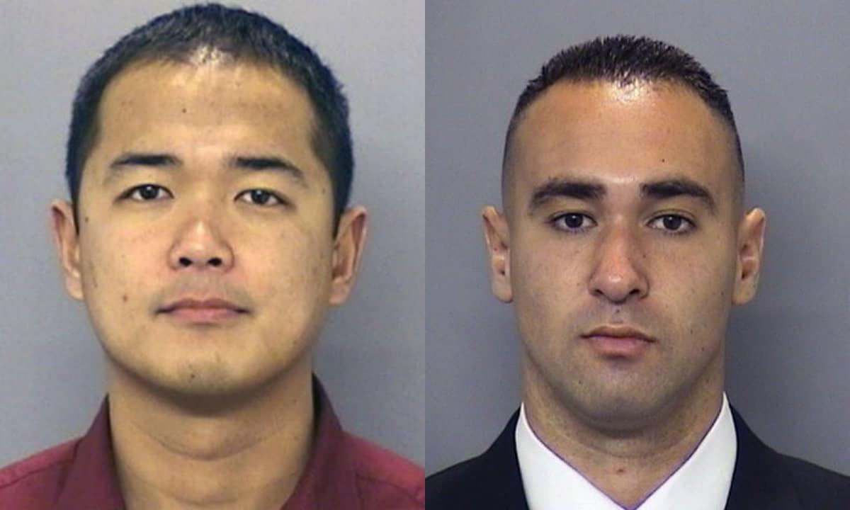 Officers Jonathan DeGuzman, on left, died as a result of his wounds while Wade Irwin, right, survived. (Photo: San Diego PD)