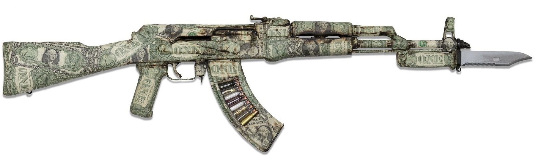 """Spoils of war"" is a decommissioned AK47 crafted by British artist Bran Symondson and covered in real $1 dollar bills. Within the magazine there are clear 7.62 empty rounds each holding a commodity that creates conflict around the world, Oil, Gold, diamonds etc. (Photo and caption: Maddox Gallery)"