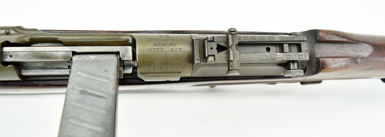 Springfield Armory 1903 MK I .30-06 SPRG (R18854) caliber rifle. Springfield 1903 with Pedersen device overhead