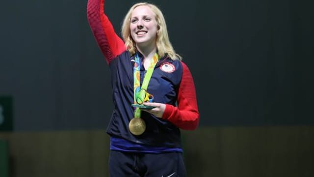 Ginny Thrasher (USA) celebrates winning the gold medal in the 10-meter air rifle competition at Olympic Shooting Centre on Aug, 6, (Photo: Geoff Burke, USA TODAY Sports)