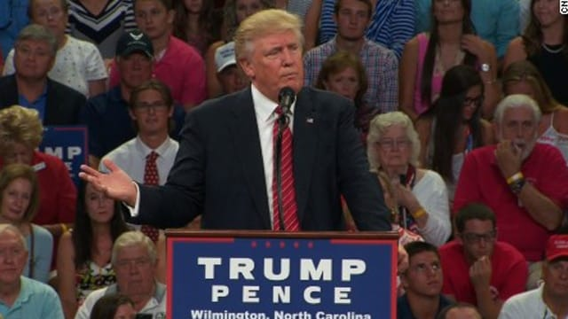 Donald Trump speaking in Wilmington, North Carolina, on Tuesday, Aug. 9, 2016.