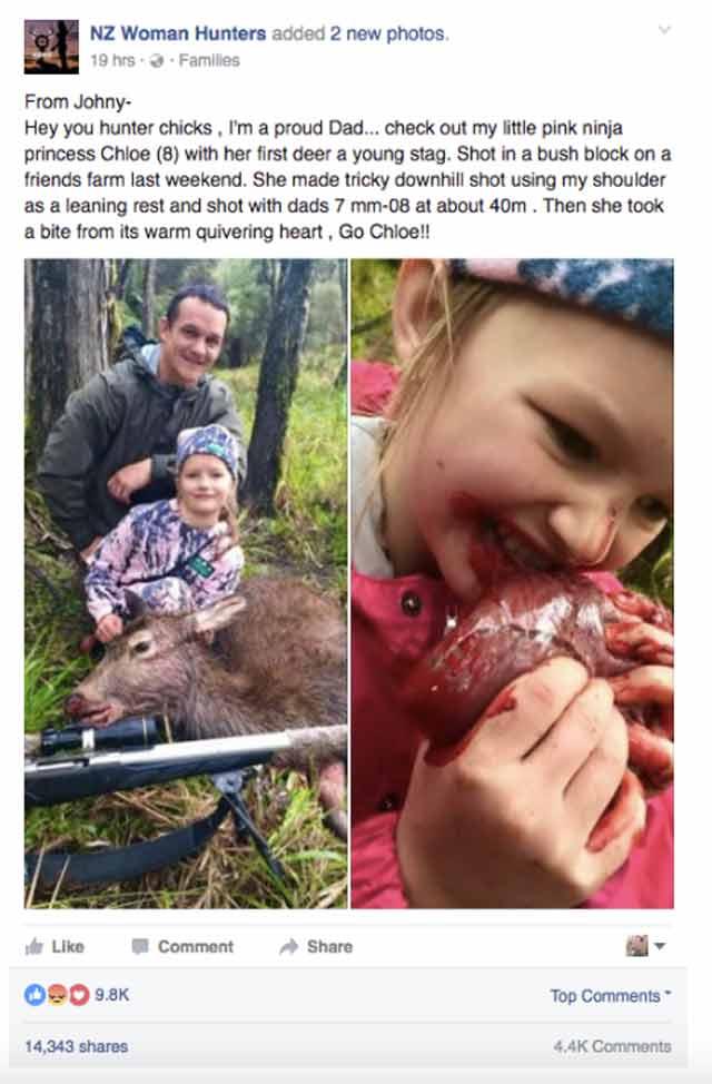 8 year old eating deer heart