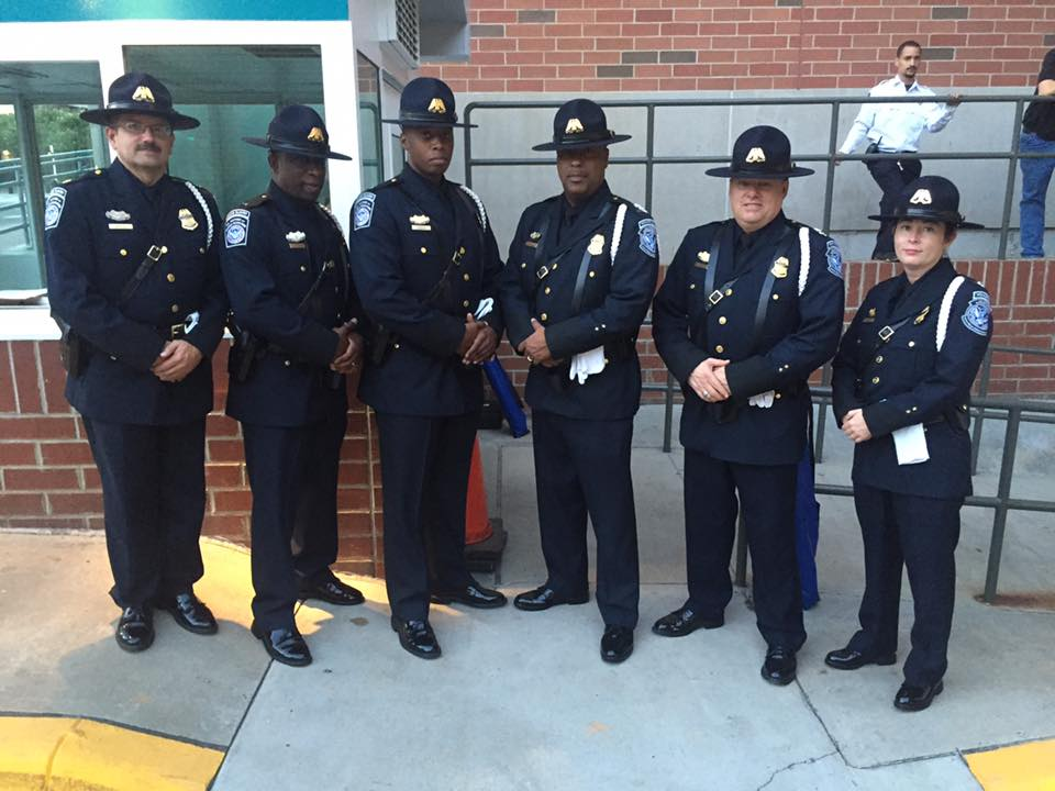 US Customs and Border Protection color guard agents standing outside The Spectrum Center in Charlotte, North Carolina Friday, (Photo: Sean Gleason, Facebook)