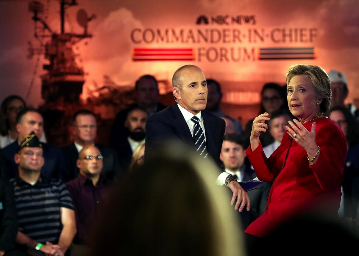 """Hillary Clinton fields a question from the audience during the Commander-in-Chief forum put on by the Iraq and Afghanistan Veterans of America and hosted by NBC's """"Today"""" show host Matt Lauer Wednesday night. (Photo: Justin Sullivan/Getty Images)"""