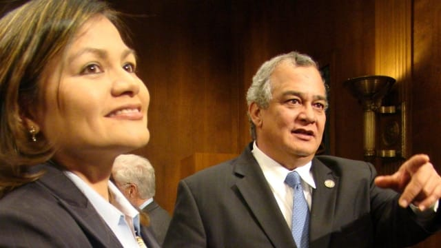 The Honorable Ramona Manglona, left, has been the presiding judge of the District Court for the Northern Mariana Islands since 2011. In the past year, she has repeatedly held the government to task on gun rights. (Photo: Congressman Kililisablan's Office)
