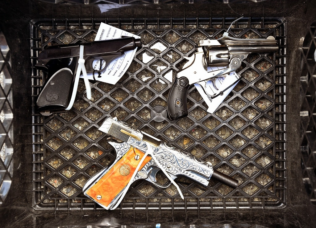 A few handguns were sold back to the San Rafael Police on Tuesday, Sept. 13, 2016, during a gun buyback at San Rafael City Hall. (Photo: Robert Tong/Marin Independent Journal)