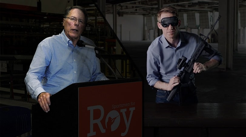 NRA Executive Vice President Wayne La Pierre (left) and Missouri Secretary of State Jason Kander. Kander is running for his state Senate seat against Roy Blunt, who is backed by the NRA. (Photo illustration: Jared Morgan / Guns.com)