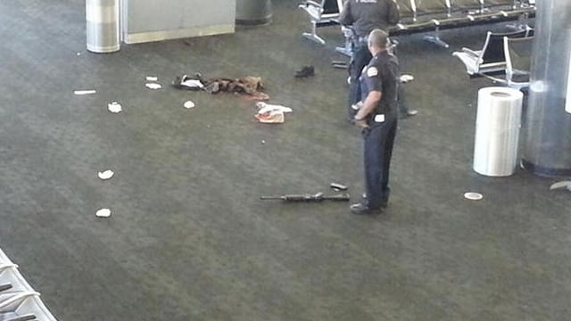 A photo taken in the aftermath of the shooting at LAX on Nov. 1, 2013.