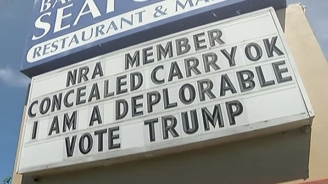 Pro-Trump Seafood restaurant, Olympian shooter address 2A and 'Deplorable' label