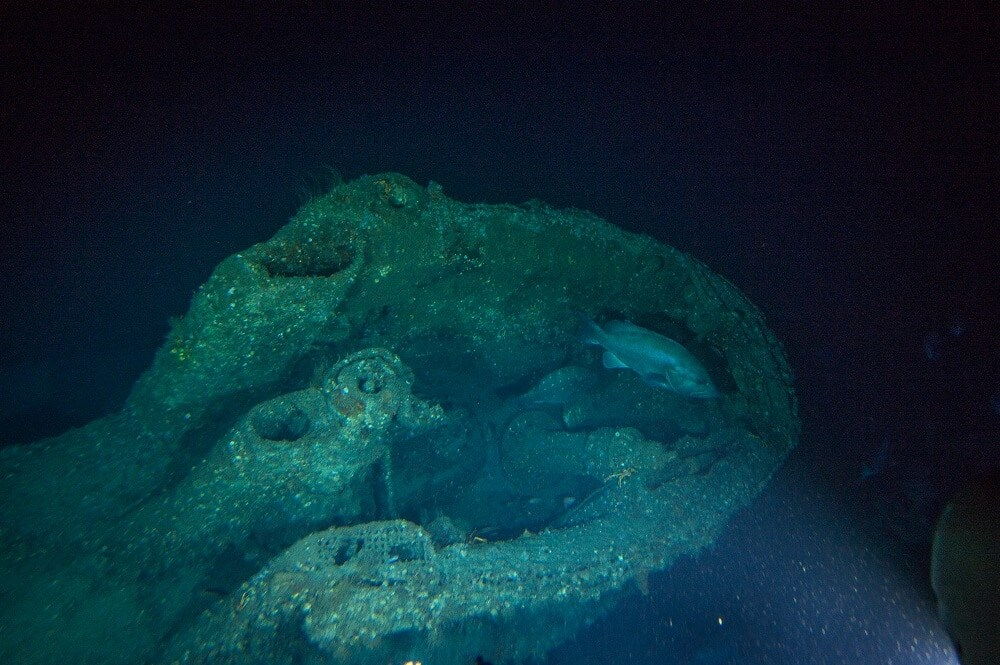 The conning tower of U-576 as viewed from the mini-sub. Entry was gained to the U-boat through a watertight hatch located in the center of the conning tower. The attack periscope can be seen in the near the back of the tower. (Photo: Joe Hoyt, NOAA - Battle of the Atlantic expedition.)
