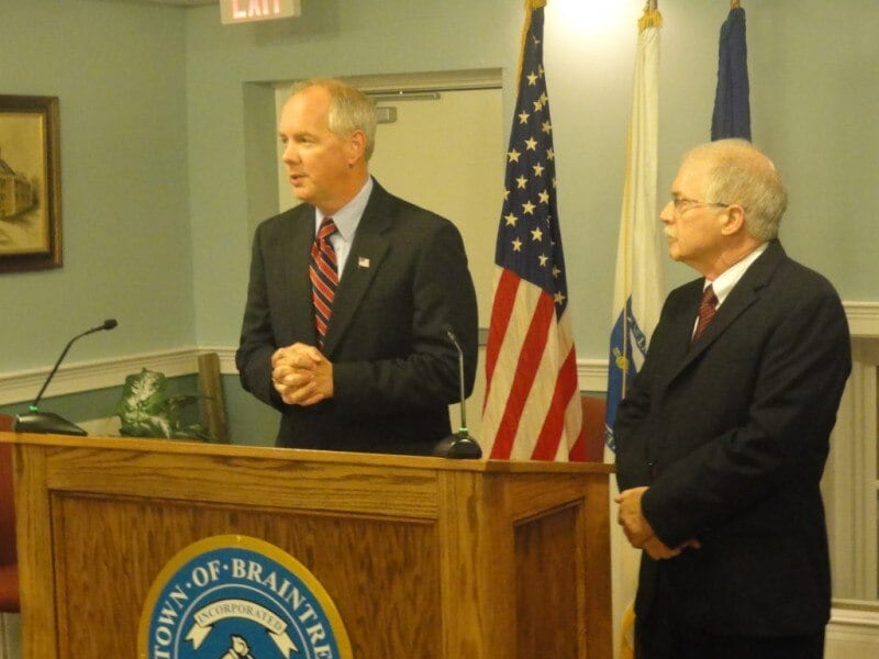 Braintree Mayor Joseph Sullivan and Police Chief Russell Jenkins pictured in 2012. (Photo: The Braintree Patch)