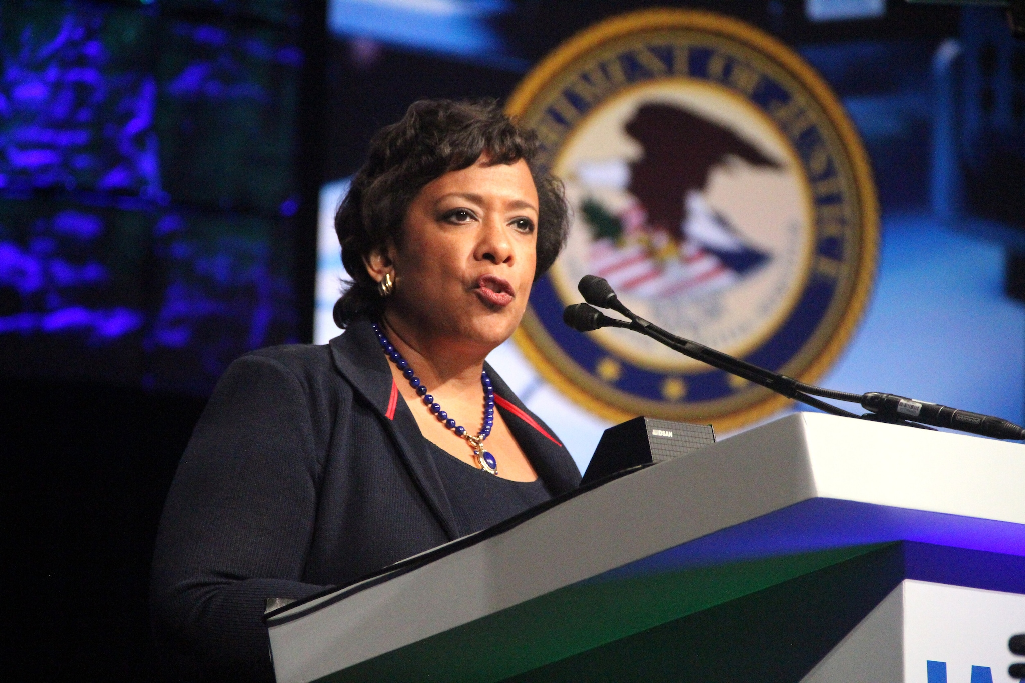 U.S. Attorney General Loretta Lynch announces the launch of a Department of Justice mental health toolkit to offer police resources in crisis management during calls involving the mentally ill. Her remarks came during the annual convention of the International Association of Chiefs of Police in San Diego on Monday, Oct. 17, 2016. (Photo: Jared Morgan)