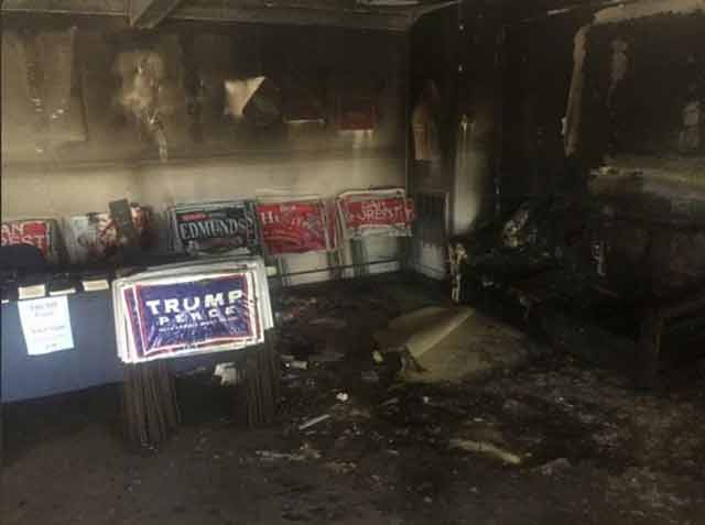 Republican headquarters fire aftermath
