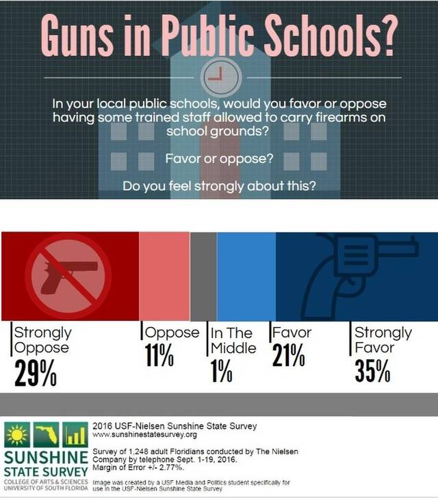 """Guns in public schools?"" Infographic of 2016 USF-Nielsen Sunshine State Survey results (Photo: USF-Nielsen Sunshine State Survey)"