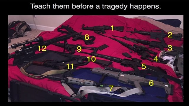 A screenshot of a video posted by the San Ramon Police Department in San Ramon, California, in which officers challenged residents to distinguish the real firearms from the replicas (Photo: San Ramon Police Department)