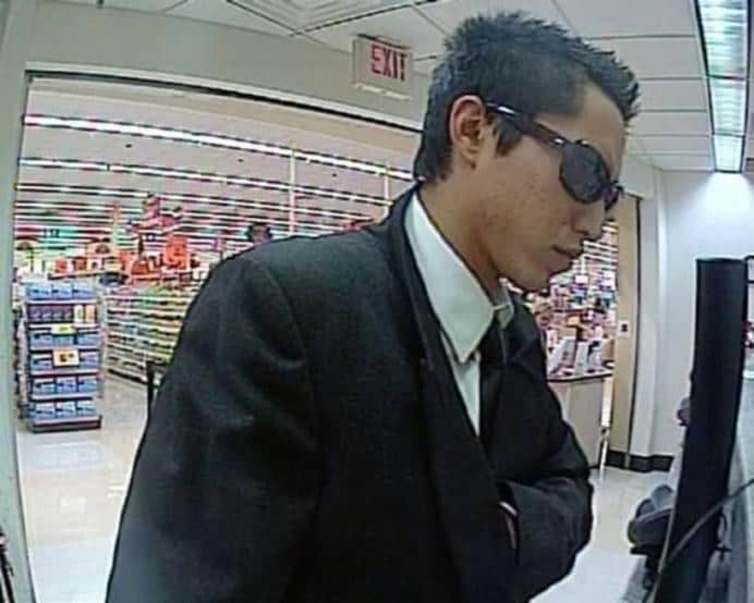 Holy man in black. Here is another Albuquerque, New Mexico. October 31, 2013. The suspect wore a black suit, black tie, a white shirt and dark-framed sunglasses.