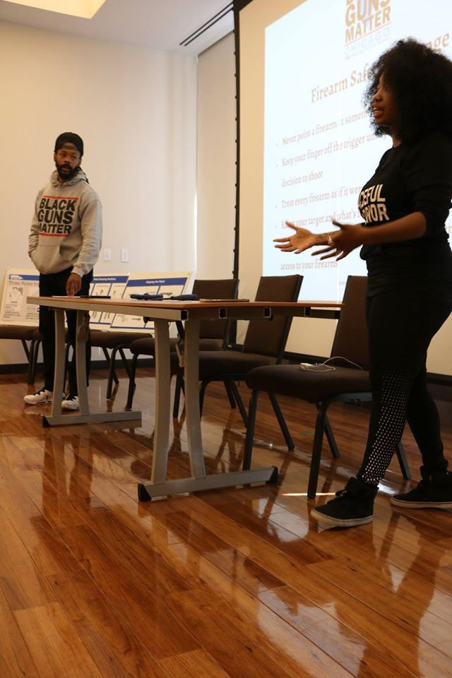 Minista Jones, right, discussed firearm safety during the presentation with Maj Toure in Chicago on Oct. 8. (Photo: Jeannine Cook)