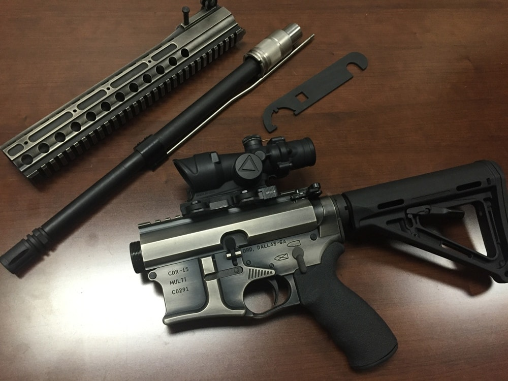DRD Tactical's CDR-15 in lovely battle-worn finish, disassembled for travel. (Photo: Team HB)