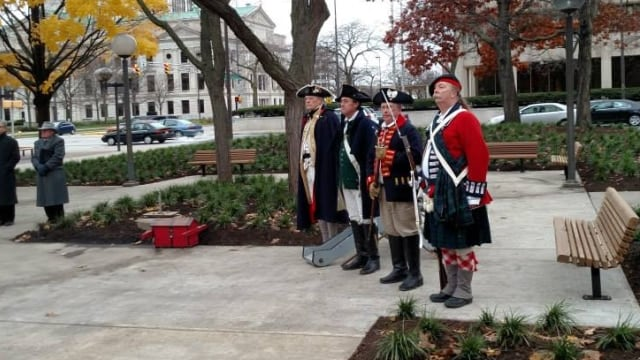 "Currently the only civilian-owned guns allowed in Fort Wayne's 90 public parks are replicas carried by reenactors such as these for the re-dedication of the statue of Gen. ""Mad"" Anthony Wayne in Freimann Square. (Photo: Fort Wayne Parks and Recreation)"